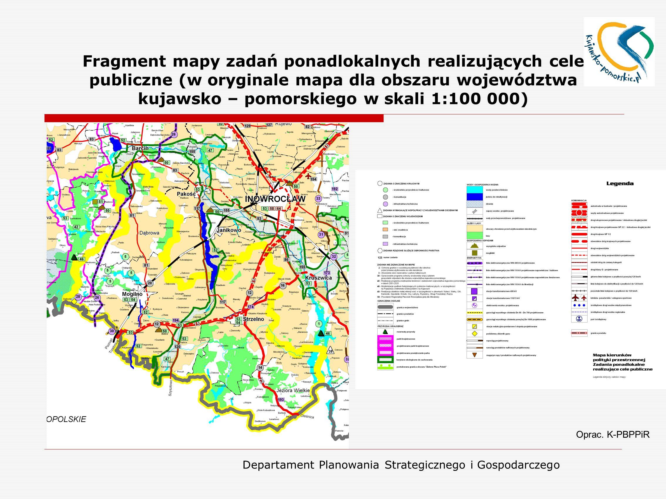 Departament Planowania Strategicznego i Gospodarczego Fragment mapy zadań ponadlokalnych realizujących cele publiczne (w oryginale mapa dla obszaru wo
