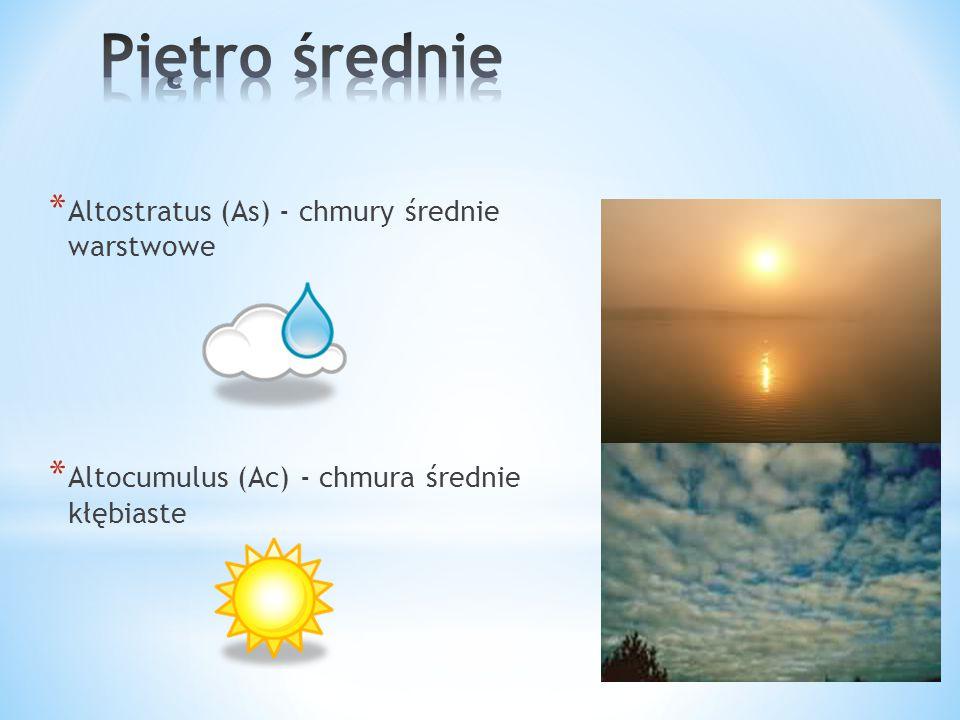 * Stratus (St) - chmury niskie warstwowe * Stratocumulus (Sc) - chmury kłębiasto- warstwowe * Nimbostratus (Ns) - chmury warstwowo-deszczowe