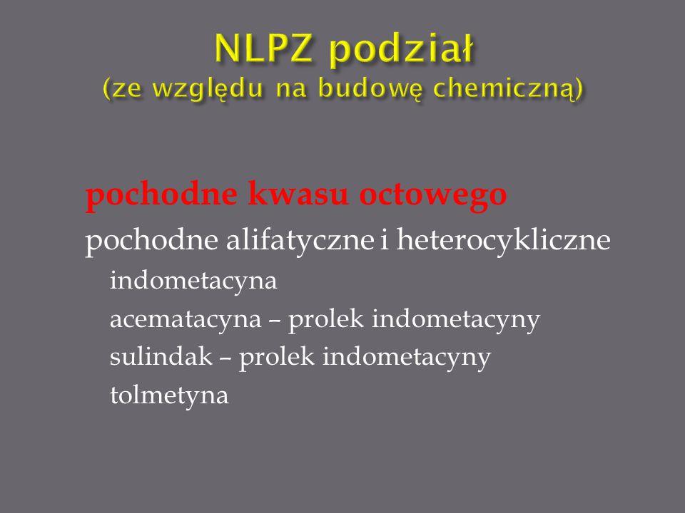 pochodne kwasu octowego pochodne alifatyczne i heterocykliczne indometacyna acematacyna – prolek indometacyny sulindak – prolek indometacyny tolmetyna