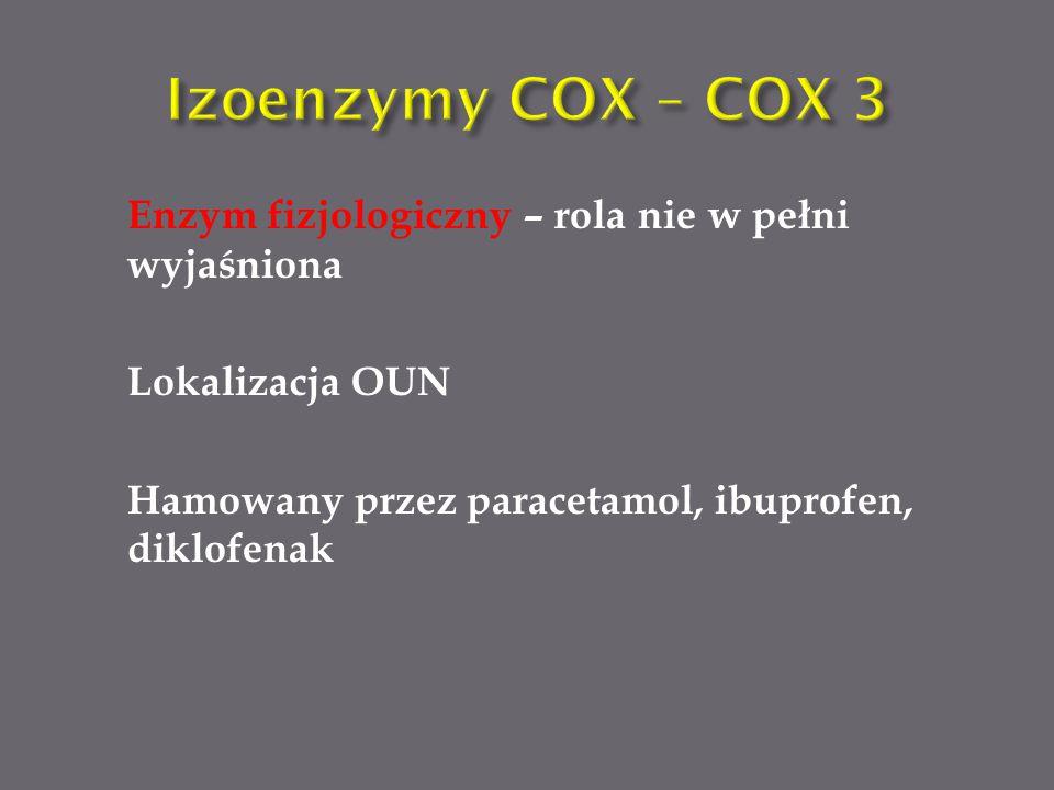 Enzym fizjologiczny – rola nie w pełni wyjaśniona Lokalizacja OUN Hamowany przez paracetamol, ibuprofen, diklofenak