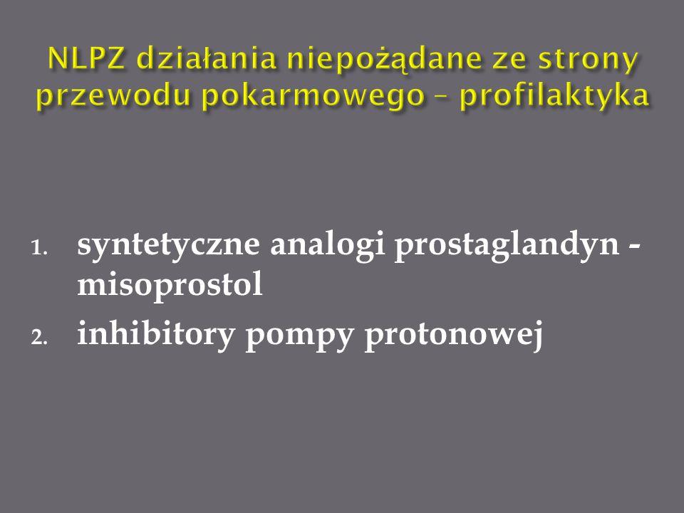 1. syntetyczne analogi prostaglandyn - misoprostol 2. inhibitory pompy protonowej