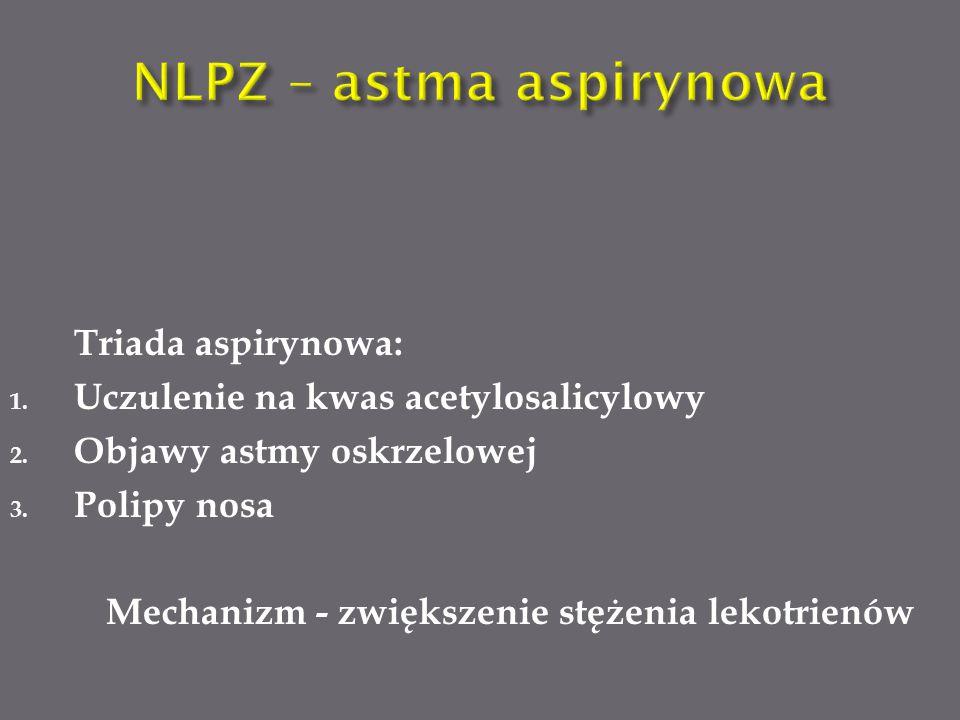 Triada aspirynowa: 1.Uczulenie na kwas acetylosalicylowy 2.