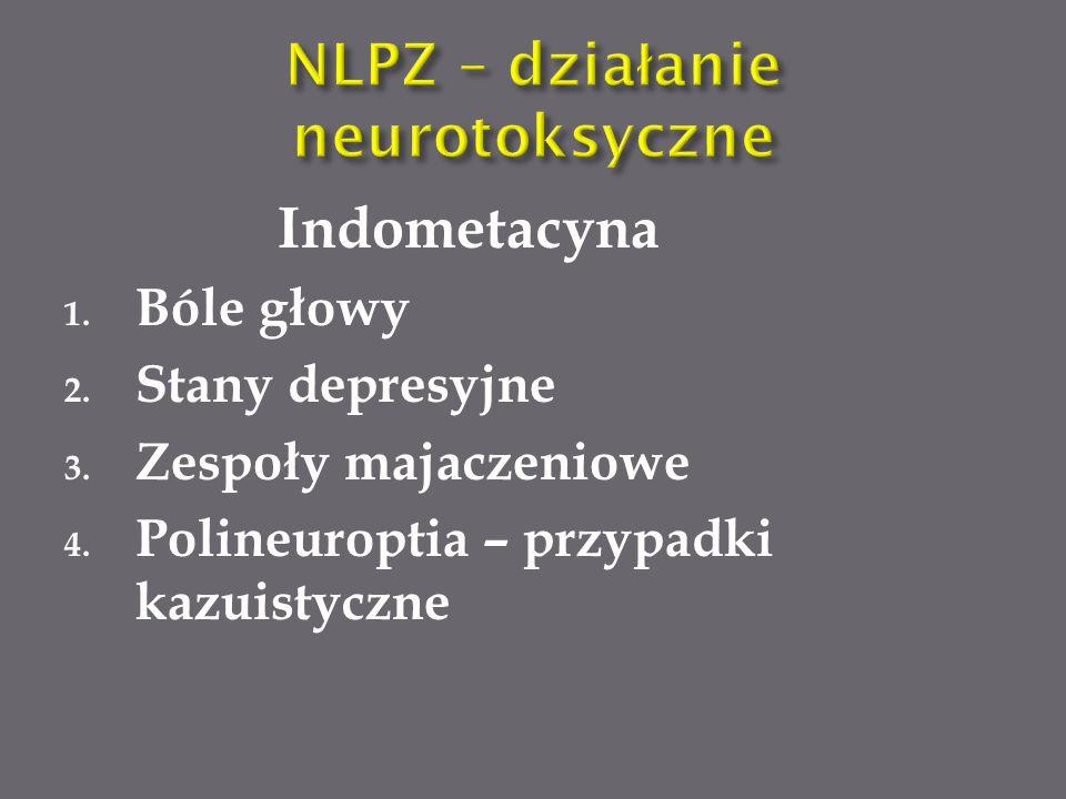 Indometacyna 1.Bóle głowy 2. Stany depresyjne 3. Zespoły majaczeniowe 4.