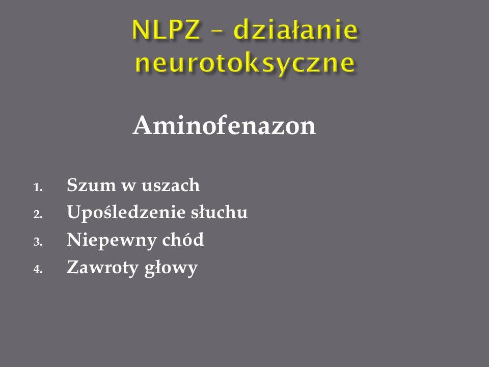 Aminofenazon 1. Szum w uszach 2. Upośledzenie słuchu 3. Niepewny chód 4. Zawroty głowy