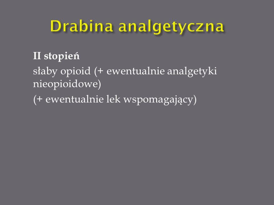 Do słabych opioidów zalicza się: Tramadol Kodeinę Dihydrokodeinę