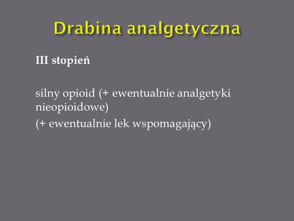 Do silnych opioidów znajdujących zastosowanie w leczeniu bólu przewlekłego zaliczamy: Morfinę (w leczeniu znajduje zastosowanie forma doustna i do podawania podskórnego) Fentanyl w postaci systemu transdermalnego (przezskórnego) w postaci plastrów.