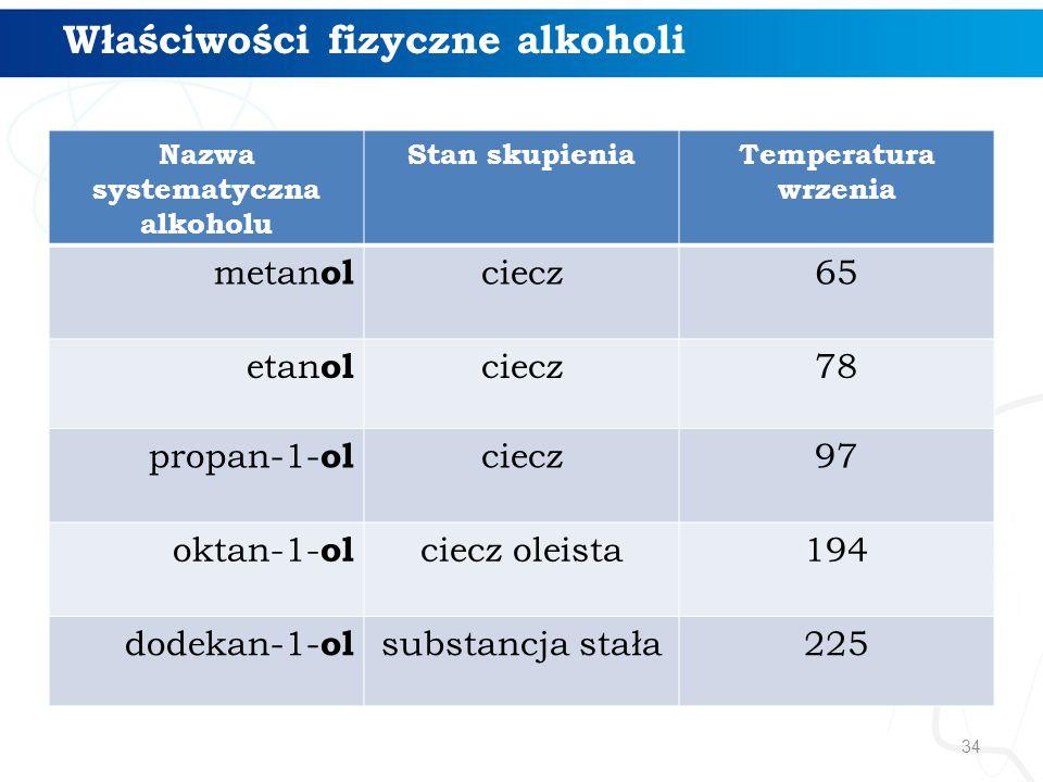 34 Nazwa systematyczna alkoholu Stan skupieniaTemperatura wrzenia metan ol ciecz65 etan ol ciecz78 propan-1- ol ciecz97 oktan-1- ol ciecz oleista194 dodekan-1- ol substancja stała225 Właściwości fizyczne alkoholi