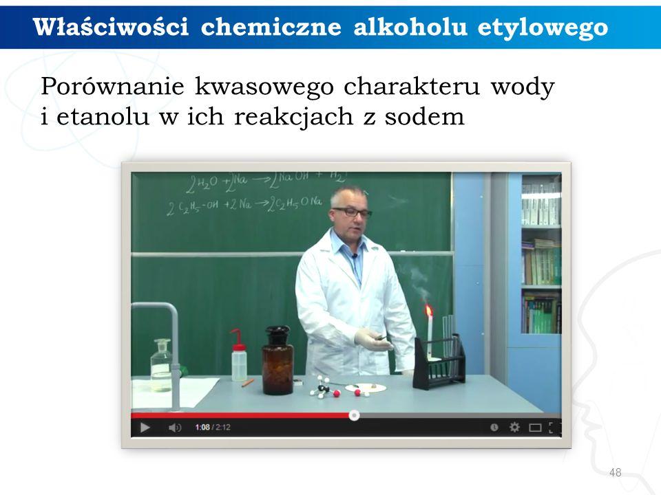 48 Właściwości chemiczne alkoholu etylowego Porównanie kwasowego charakteru wody i etanolu w ich reakcjach z sodem