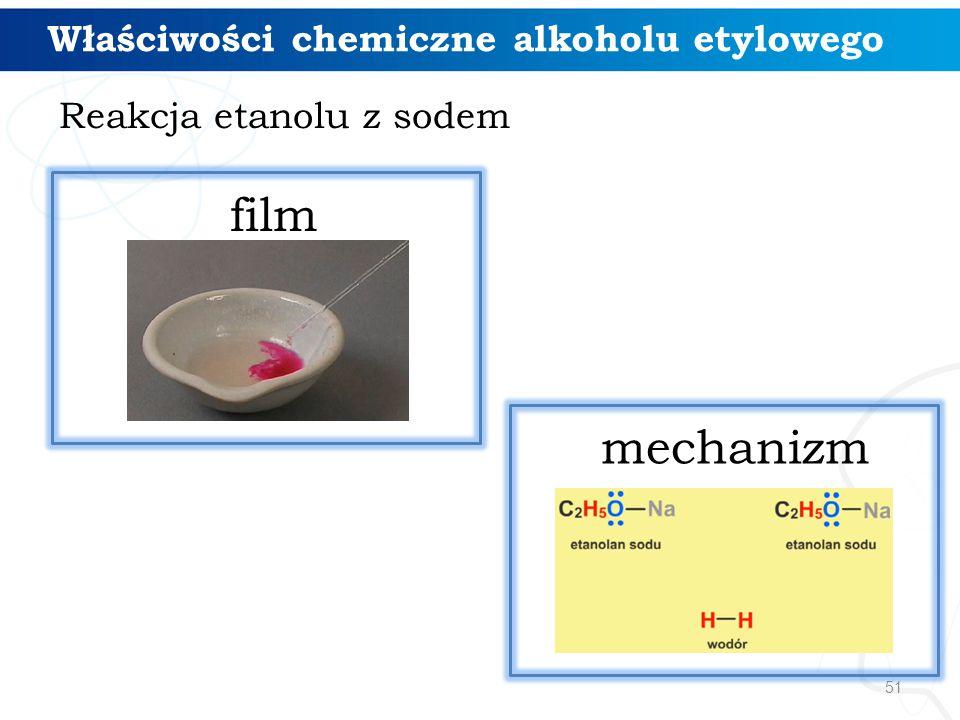 51 Reakcja etanolu z sodem Właściwości chemiczne alkoholu etylowego mechanizm film