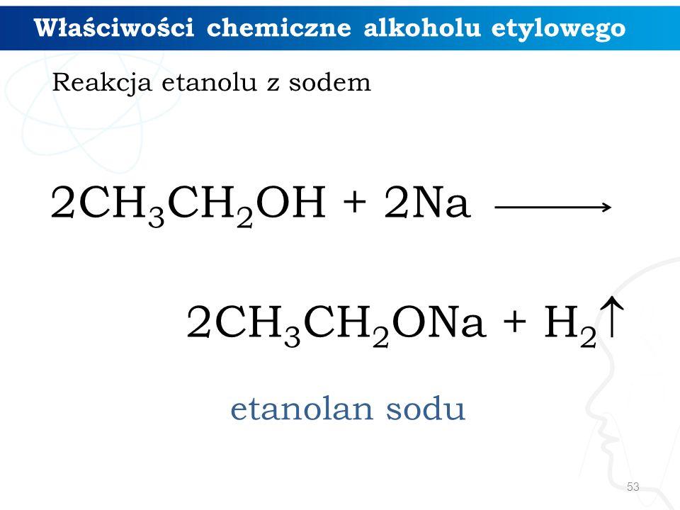 53 2CH 3 CH 2 OH + 2Na 2CH 3 CH 2 ONa + H 2  etanolan sodu Reakcja etanolu z sodem Właściwości chemiczne alkoholu etylowego