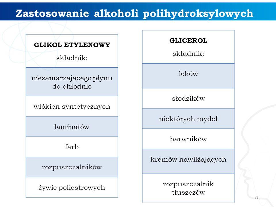 75 Zastosowanie alkoholi polihydroksylowych GLIKOL ETYLENOWY składnik: niezamarzającego płynu do chłodnic włókien syntetycznych laminatów farb rozpusz