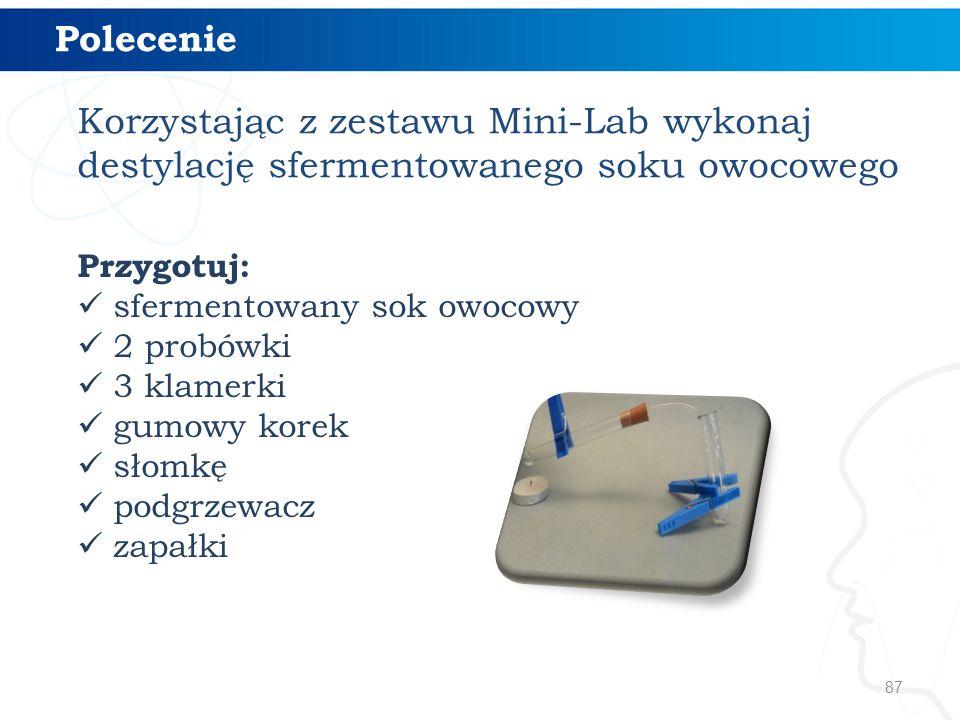 87 Polecenie Korzystając z zestawu Mini-Lab wykonaj destylację sfermentowanego soku owocowego Przygotuj: sfermentowany sok owocowy 2 probówki 3 klamer