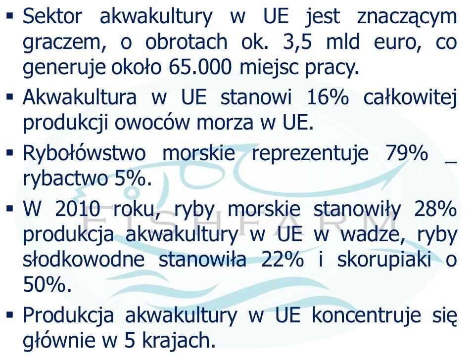  Sektor akwakultury w UE jest znaczącym graczem, o obrotach ok. 3,5 mld euro, co generuje około 65.000 miejsc pracy.  Akwakultura w UE stanowi 16% c