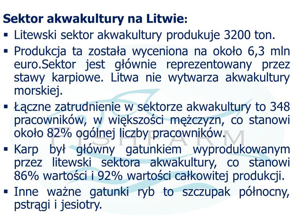 Sektor akwakultury na Litwie :  Litewski sektor akwakultury produkuje 3200 ton.  Produkcja ta została wyceniona na około 6,3 mln euro.Sektor jest gł