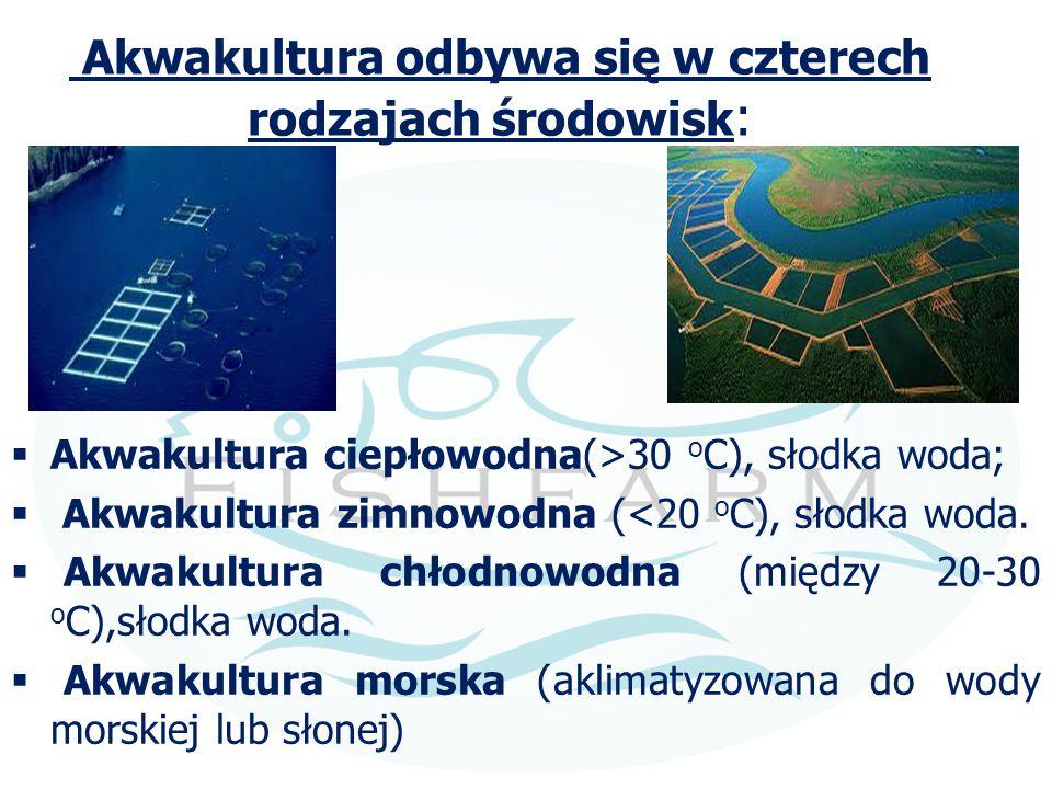 Akwakultura odbywa się w czterech rodzajach środowisk :  Akwakultura ciepłowodna(>30 o C), słodka woda;  Akwakultura zimnowodna (<20 o C), słodka wo