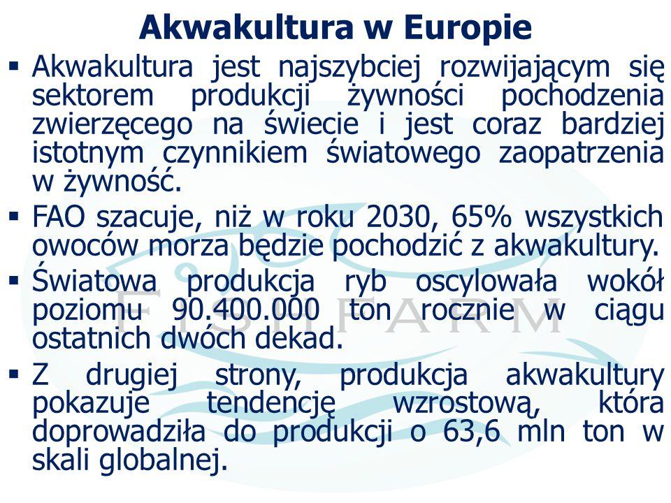 Akwakultura w Europie  Akwakultura jest najszybciej rozwijającym się sektorem produkcji żywności pochodzenia zwierzęcego na świecie i jest coraz bard