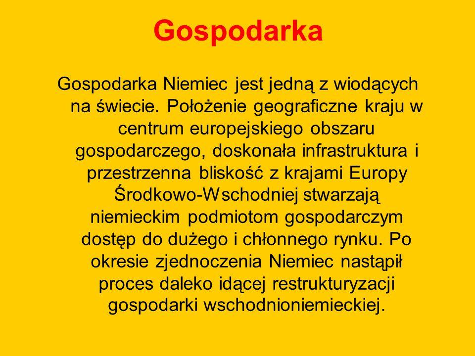 Gospodarka Gospodarka Niemiec jest jedną z wiodących na świecie. Położenie geograficzne kraju w centrum europejskiego obszaru gospodarczego, doskonała