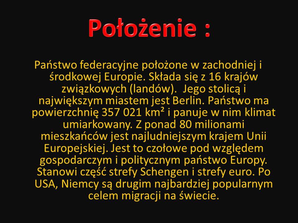 Państwo federacyjne położone w zachodniej i środkowej Europie. Składa się z 16 krajów związkowych (landów). Jego stolicą i największym miastem jest Be
