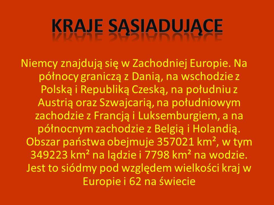 Niemcy znajdują się w Zachodniej Europie. Na północy graniczą z Danią, na wschodzie z Polską i Republiką Czeską, na południu z Austrią oraz Szwajcarią