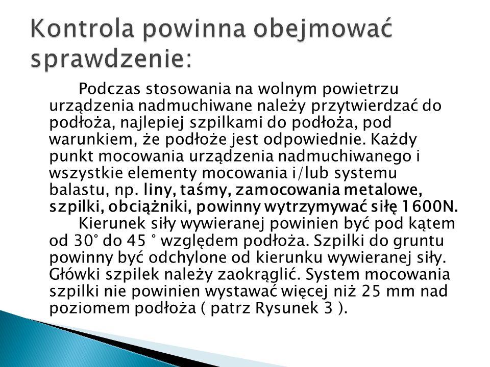Podczas stosowania na wolnym powietrzu urządzenia nadmuchiwane należy przytwierdzać do podłoża, najlepiej szpilkami do podłoża, pod warunkiem, że podłoże jest odpowiednie.