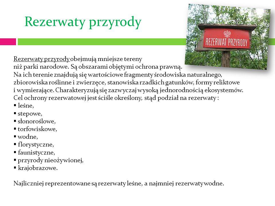 Rezerwaty przyrody Rezerwaty przyrody obejmują mniejsze tereny niż parki narodowe. Są obszarami objętymi ochrona prawną. Na ich terenie znajdują się w