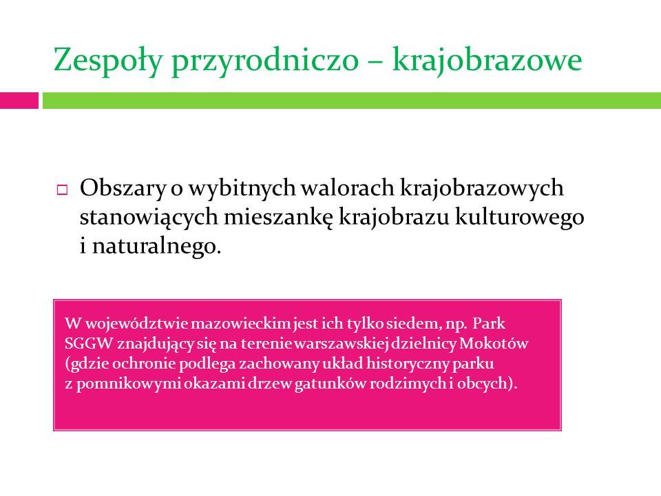 Zespoły przyrodniczo – krajobrazowe W województwie mazowieckim jest ich tylko siedem, np. Park SGGW znajdujący się na terenie warszawskiej dzielnicy M
