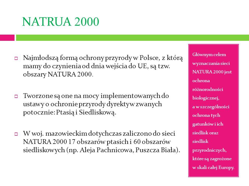 NATRUA 2000 Głównym celem wyznaczania sieci NATURA 2000 jest ochrona różnorodności biologicznej, a w szczególności ochrona tych gatunków i ich siedlisk oraz siedlisk przyrodniczych, które są zagrożone w skali całej Europy.