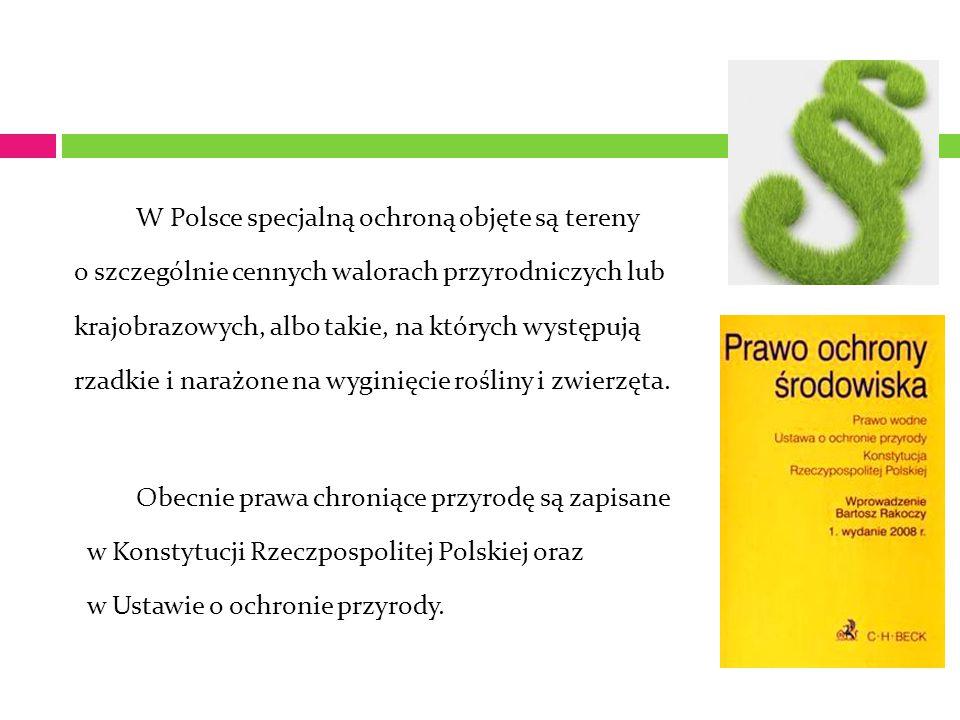 W Polsce specjalną ochroną objęte są tereny o szczególnie cennych walorach przyrodniczych lub krajobrazowych, albo takie, na których występują rzadkie i narażone na wyginięcie rośliny i zwierzęta.