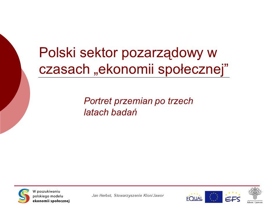 """Jan Herbst, Stowarzyszenie Klon/Jawor Polski sektor pozarządowy w czasach """"ekonomii społecznej Portret przemian po trzech latach badań"""