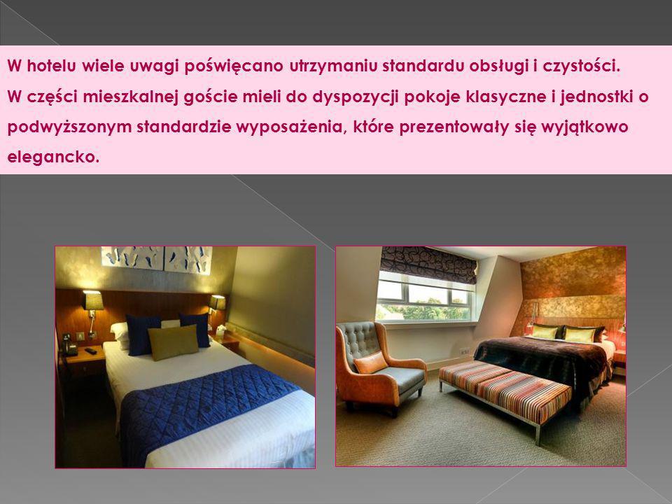 W hotelu wiele uwagi poświęcano utrzymaniu standardu obsługi i czystości. W części mieszkalnej goście mieli do dyspozycji pokoje klasyczne i jednostki