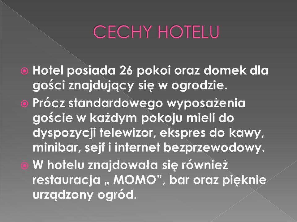  Hotel posiada 26 pokoi oraz domek dla gości znajdujący się w ogrodzie.  Prócz standardowego wyposażenia goście w każdym pokoju mieli do dyspozycji