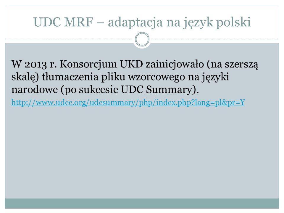 Struktura rekordu wzorcowego UDC MRF 001 UDC-number 100 Description 105 Verbal examples (i.e.