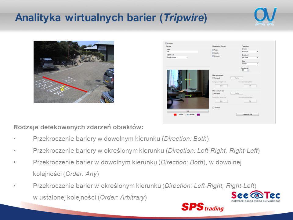 Analityka wirtualnych barier (Tripwire) Rodzaje detekowanych zdarzeń obiektów: Przekroczenie bariery w dowolnym kierunku (Direction: Both) Przekroczenie bariery w określonym kierunku (Direction: Left-Right, Right-Left) Przekroczenie barier w dowolnym kierunku (Direction: Both), w dowolnej kolejności (Order: Any) Przekroczenie barier w określonym kierunku (Direction: Left-Right, Right-Left) w ustalonej kolejności (Order: Arbitrary)