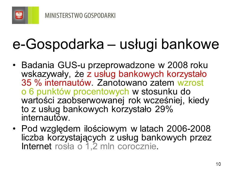 10 e-Gospodarka – usługi bankowe Badania GUS-u przeprowadzone w 2008 roku wskazywały, że z usług bankowych korzystało 35 % internautów.