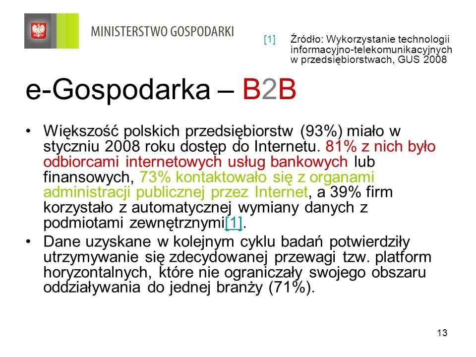 13 e-Gospodarka – B2B Większość polskich przedsiębiorstw (93%) miało w styczniu 2008 roku dostęp do Internetu.
