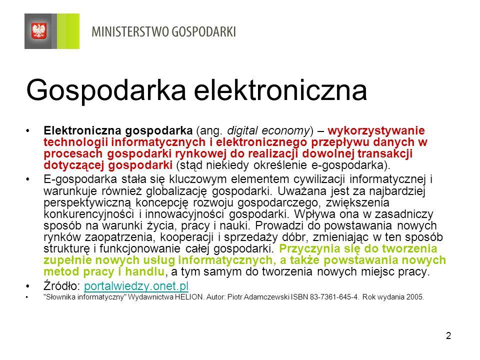 23 Program działań na rzecz wspierania elektronicznego handlu i usług na lata 2009-2010 Cele szczegółowe: 1.