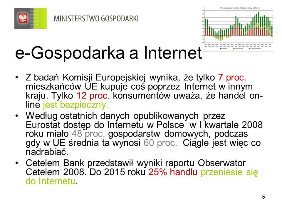 6 e-Gospodarka – B2C Liczba Polaków dokonujących zakupy w sieci z roku na rok rośnie, jednak w roku 2008 można było zauważyć spowolnienie tempa tego wzrostu.