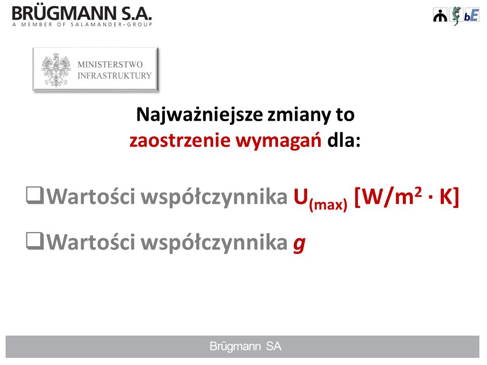 Współczynnik przenikalności cieplnej U [W/m 2 · K] musi zostać wyznaczony na podstawie norm serii EN ISO 10077.