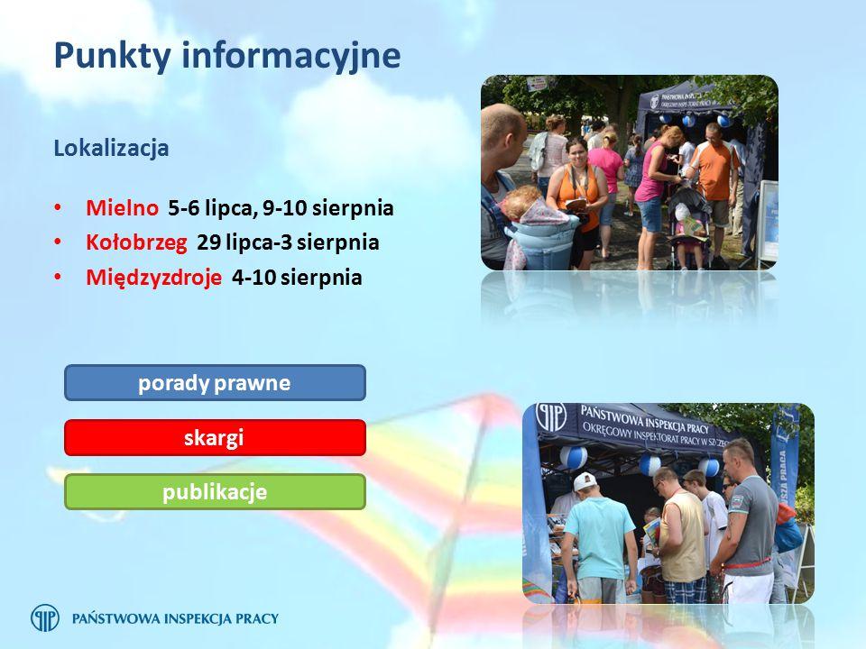 Punkty informacyjne Mielno 5-6 lipca, 9-10 sierpnia Kołobrzeg 29 lipca-3 sierpnia Międzyzdroje 4-10 sierpnia Lokalizacja porady prawne skargi publikacje