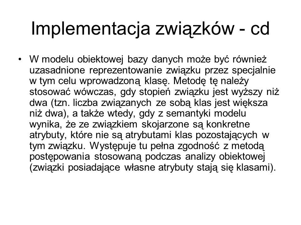Implementacja związków - cd W modelu obiektowej bazy danych może być również uzasadnione reprezentowanie związku przez specjalnie w tym celu wprowadzo