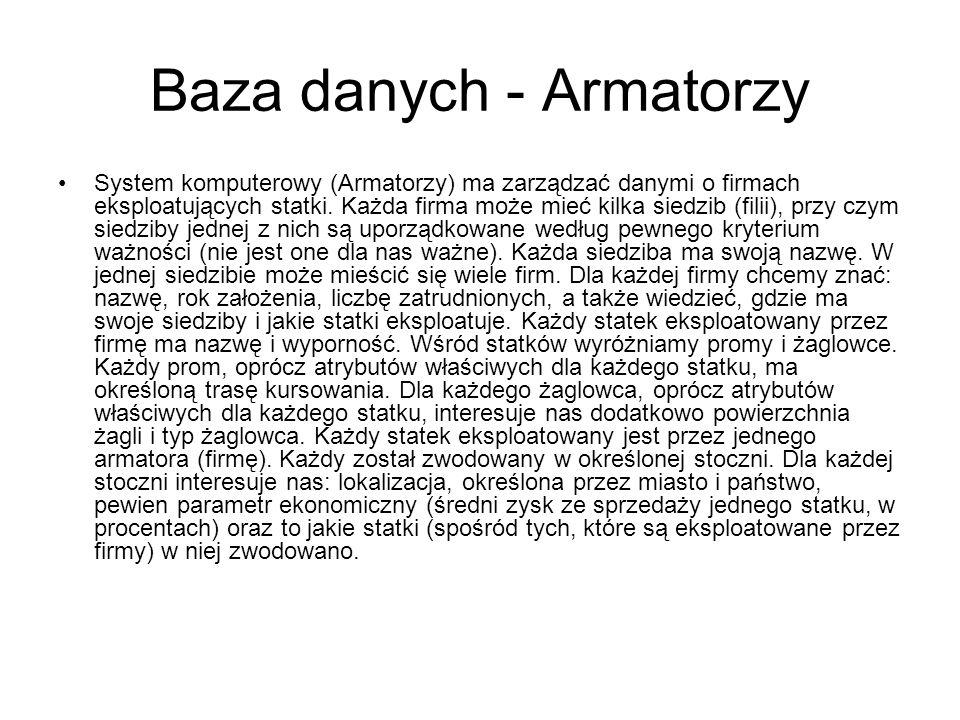 Baza danych - Armatorzy System komputerowy (Armatorzy) ma zarządzać danymi o firmach eksploatujących statki. Każda firma może mieć kilka siedzib (fili