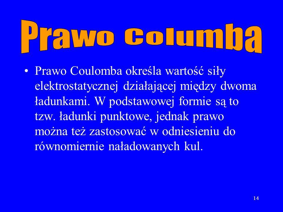 14 Prawo Coulomba określa wartość siły elektrostatycznej działającej między dwoma ładunkami.