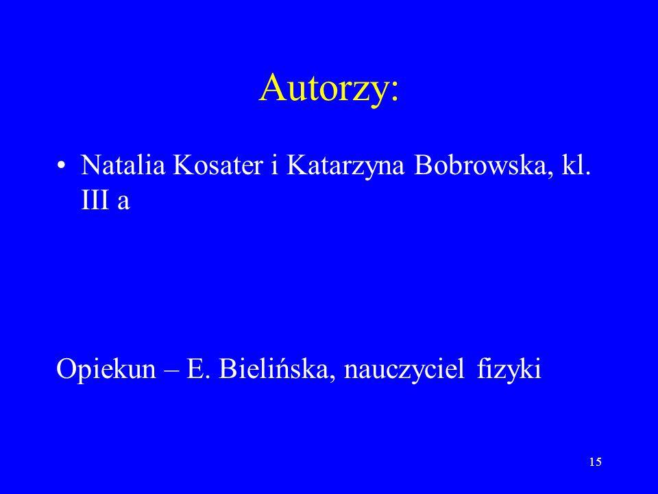 15 Autorzy: Natalia Kosater i Katarzyna Bobrowska, kl.