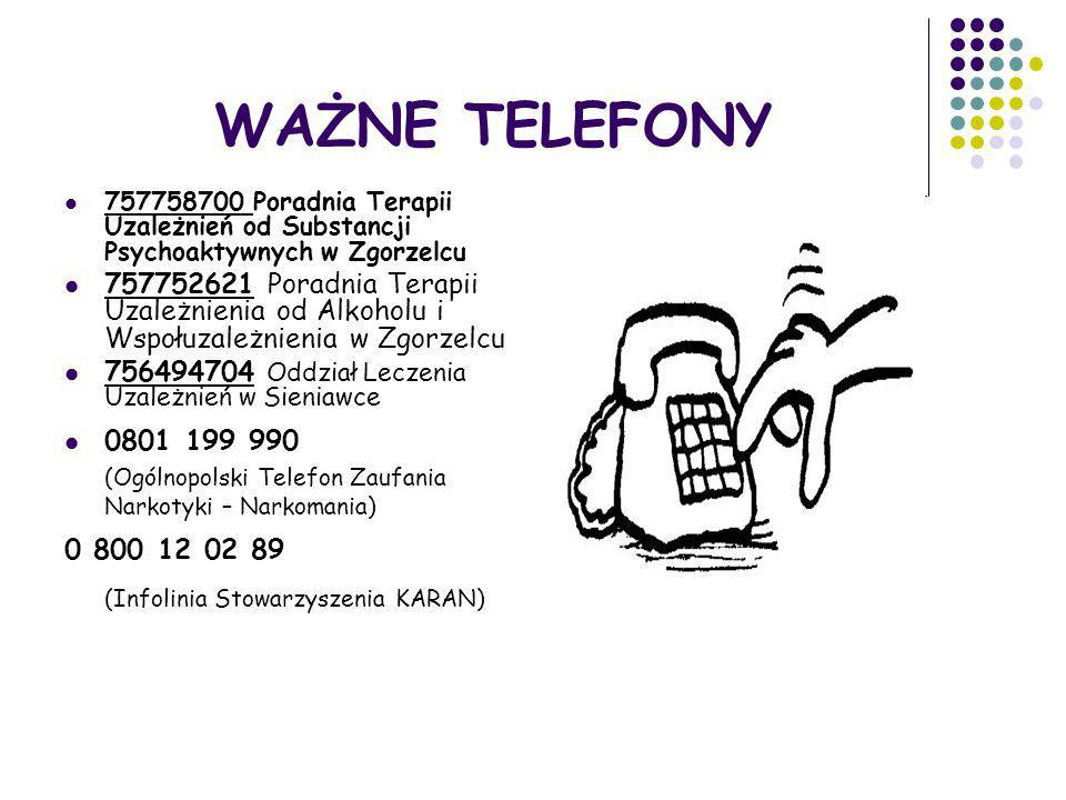 WAŻNE TELEFONY 757758700 Poradnia Terapii Uzależnień od Substancji Psychoaktywnych w Zgorzelcu 757752621 Poradnia Terapii Uzależnienia od Alkoholu i W