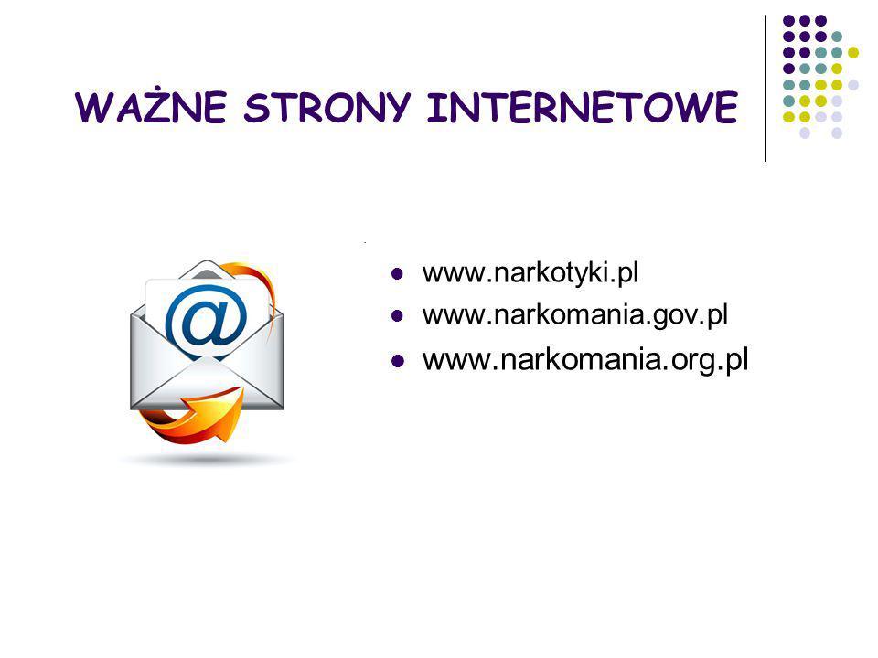 WAŻNE STRONY INTERNETOWE www.narkotyki.pl www.narkomania.gov.pl www.narkomania.org.pl
