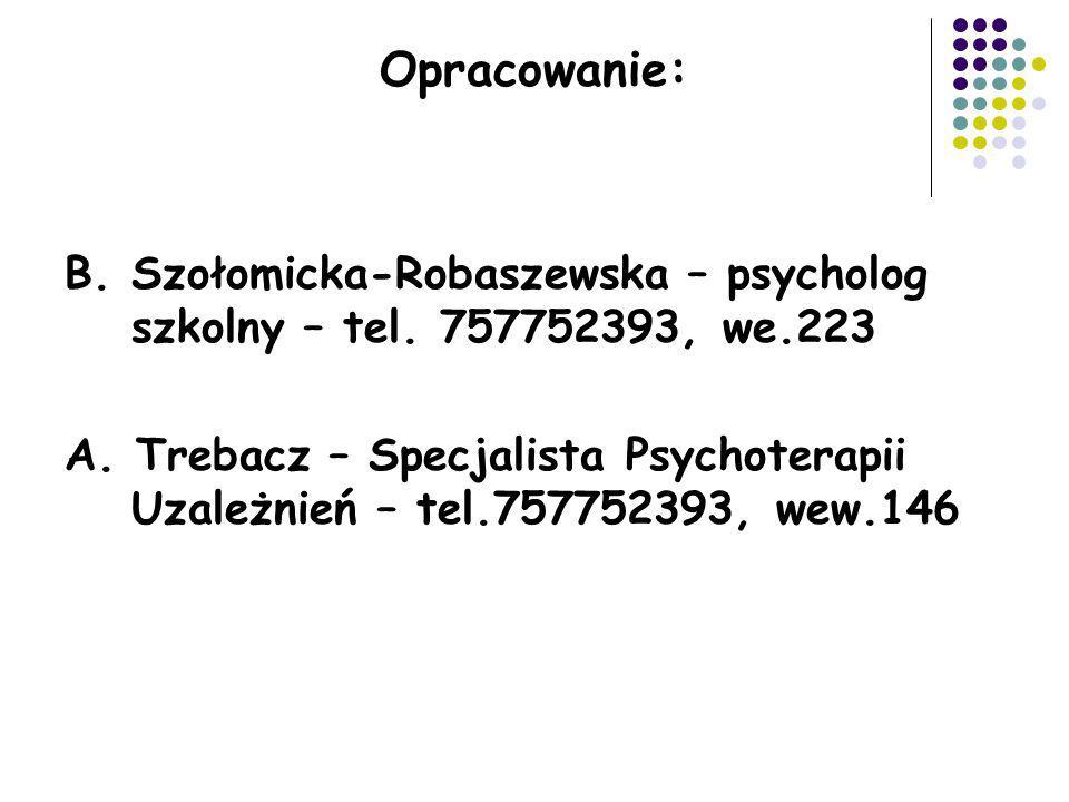 Opracowanie: B. Szołomicka-Robaszewska – psycholog szkolny – tel. 757752393, we.223 A. Trebacz – Specjalista Psychoterapii Uzależnień – tel.757752393,