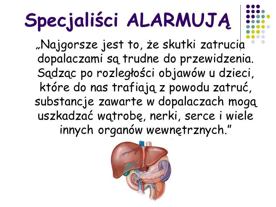 W SKŁAD dopalaczy wchodzą toksyczne substancje Przykładowo: rtęć aluminium syntetyczne kannabinoidy.