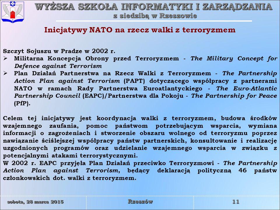 WYŻSZA SZKOŁA INFORMATYKI I ZARZĄDZANIA z siedzibą w Rzeszowie 11 sobota, 28 marca 2015sobota, 28 marca 2015sobota, 28 marca 2015sobota, 28 marca 2015 Rzeszów Inicjatywy NATO na rzecz walki z terroryzmem Szczyt Sojuszu w Pradze w 2002 r.