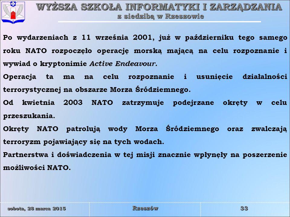 WYŻSZA SZKOŁA INFORMATYKI I ZARZĄDZANIA z siedzibą w Rzeszowie 33 sobota, 28 marca 2015sobota, 28 marca 2015sobota, 28 marca 2015sobota, 28 marca 2015 Rzeszów Po wydarzeniach z 11 września 2001, już w październiku tego samego roku NATO rozpoczęło operację morską mającą na celu rozpoznanie i wywiad o kryptonimie Active Endeavour.