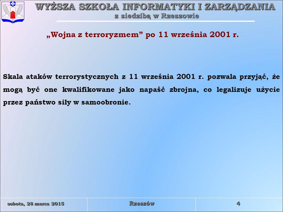 WYŻSZA SZKOŁA INFORMATYKI I ZARZĄDZANIA z siedzibą w Rzeszowie 15 sobota, 28 marca 2015sobota, 28 marca 2015sobota, 28 marca 2015sobota, 28 marca 2015 Rzeszów Misja Międzynarodowych Sił Wspierania Bezpieczeństwa (ISAF) jest operacją stabilizacyjną, prowadzoną na podstawie rezolucji Rady Bezpieczeństwa ONZ (nr 1386 z 20 grudnia 2001 r., nr 1510 z 13 października 2003 r., nr 1563 z 17 września 2004 r., nr 1623 z 13 września 2005 r.